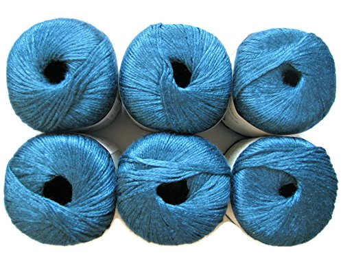 Silk Bamboo Yarn, 2.2oz, 6-Pack (Sapphire) by Patons