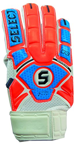 Select Sport America Youth 03 Guard Goalkeeper Gloves with Finger Protection, Orange/Blue, Size 4