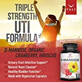 D Mannose 1000 mg Urinary Tract Infection Formula - Triple Strength Organic Cranberry 50:1 Concentrate & Hibiscus - Healthy Bladder Function, Natural Yeast Cleanse, UTI Support - 60 Veggie Capsules