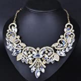 style13 white - Women Fashion Pendant Crystal Flower Choker Chunky Statement Chain Bib Necklace