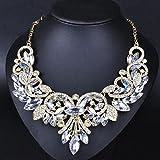 style13 white - Women Fashion Pendant Crystal Flower Choker Chunky Statement Chain Bib Necklace