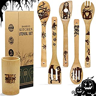 5 Pcs Wooden Spoons Cooking Set, Halloween Nightmare Pattern Burned Organic Bamboo Spoon Carved Spatulas Kitchen Utensils Sets For Halloween Kitchen Decorations, Great Gifts Idea for Chefs & Foodies