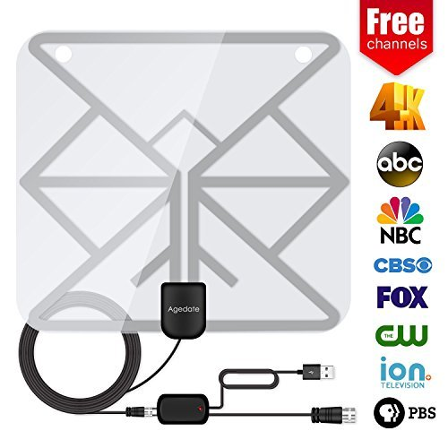 Agedate 60+Miles Long Range TV Antenna,Upgraded Transparent Digital HDTV Antenna with Amplifier Signal Booster for Indoor, High Reception Antenna for 4k 1080P Channels Free for All Older TV's