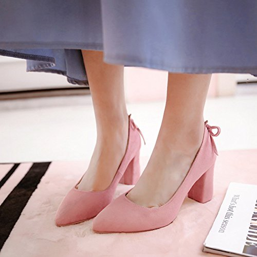 Aisun Womens Mode Habillé Coupe Basse Bout Pointu Haut Chunky Talon Slip On Pumps Chaussures Avec Noeud Rose