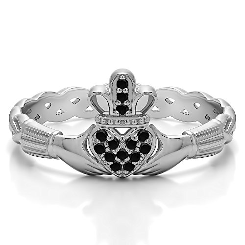 (10k White Gold Black Diamond .07 CT Celtic Claddagh Wedding Ring with Pave Heart (3 To 15 in 1/4 Sizes) )