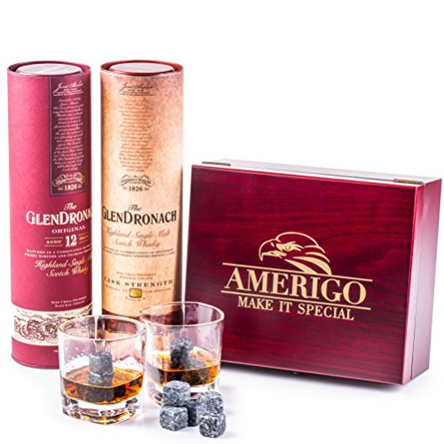 Impressive Whiskey Stones and Glass Gift Set - Be Different When Choosing a Gift - Luxury Handmade Wooden Box with Set of 2 Whisky Glasses - 8 Granite Chilling Rocks + FREE Ice Tongs and Velvet Bag by Amerigo