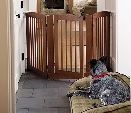 Orvis Three-panel Dog Gate With Door / 36″ h Gate, Cinnamon For Sale