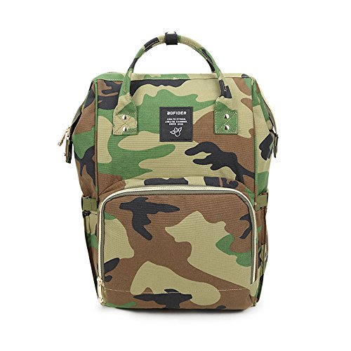 Gizwise  Diaper Bag for Women Men Insulated Toddler Camo Travel Backpack Green with Stroller (Diaper Bag Green Camouflage)
