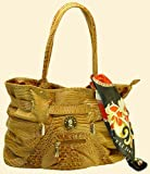 "Gorgeously Stylish Italian Designer Brown Alligator Handbag, with Designer Scarf (15"" x 10"" x 5"")*ALSO AVAILABLE in Black Alligator, Brown Snake Skin, Black Crocodile or Black or Beige Ostrich - AS-146"