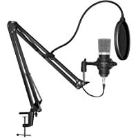 Redlemon Micrófono Condensador Profesional para Estudio de Grabación y Radiodifusión, con Brazo Ajustable, Filtro…