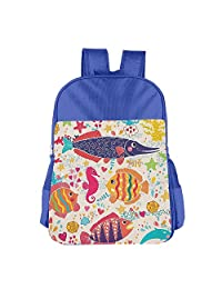 Mokjeiij Cartoon Art With Tropical Fish Seahorse Starfish DolphIn Coral Underwater Life Unisex Girls Boys School Backpack Children's