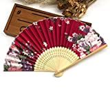 Rose Red 100 Pcs/Lot Paper Gift Box Printing Floral Folding Hand Held Fan Wedding Accessories Decoration