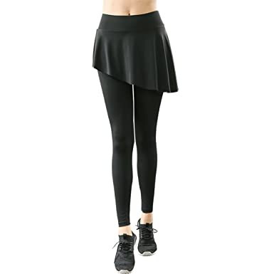 a9d01669b4 Skirted Leggings Women Running Skirts Casual Gym Tennis Skort with Leggings  (XL=UK 12): Amazon.co.uk: Clothing