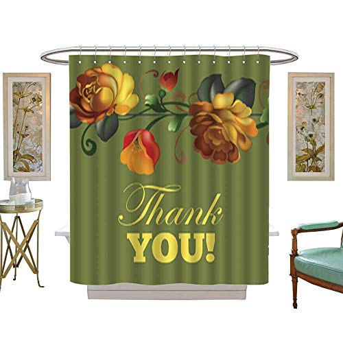 Iuvolux Shower Curtain Thank You Card with Beautiful Vintage Flowers. with Beaded Rings W66 x H72 Inch ()