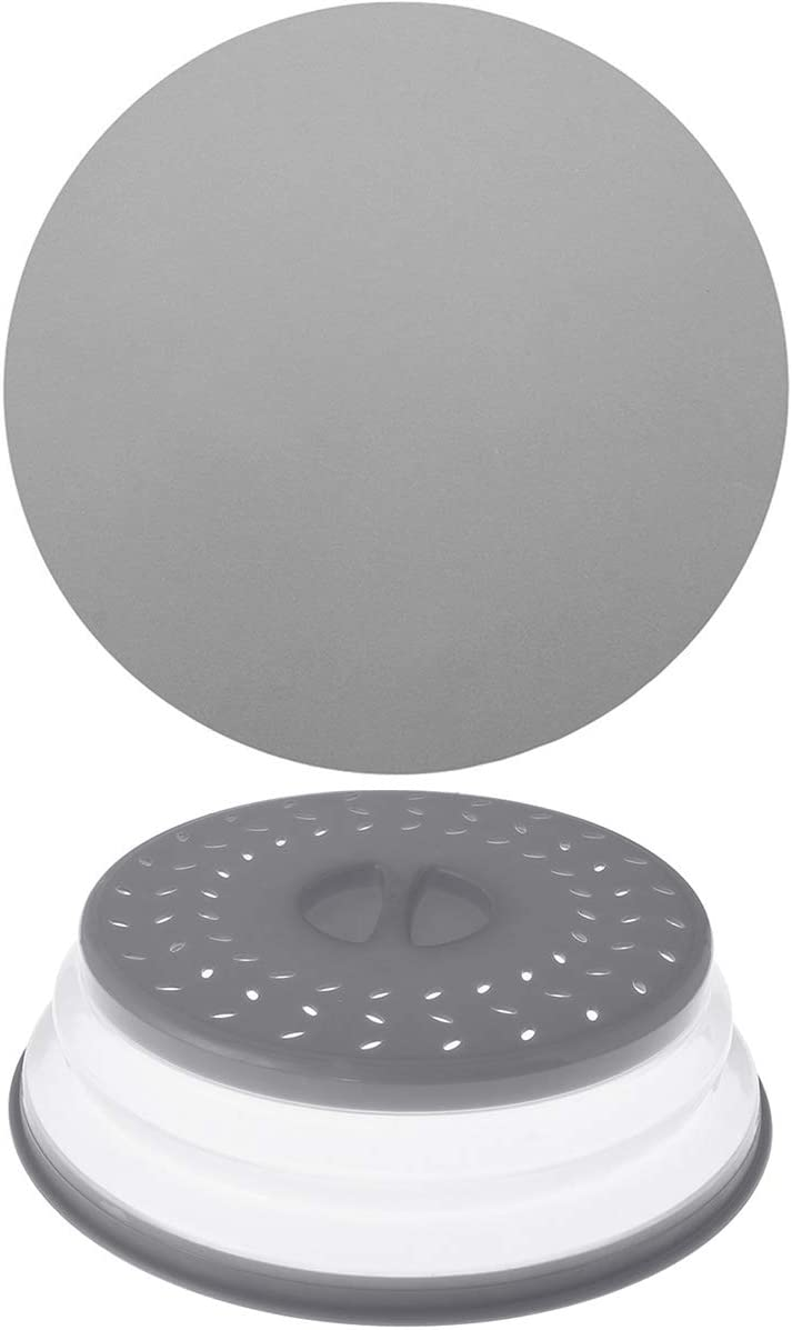 Thanksky Collapsible Microwave Splatter Cover For Food With Silicone Mats, 10.5 Inch, Dishwasher-safe, Microwave Plate Cover With Steam Vent (1Cover+1Mat Grey)