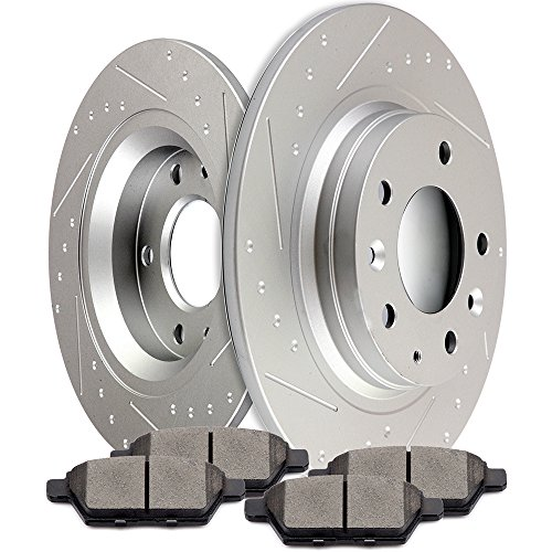 SCITOO Brake Kits, Rear Slotted Brake Discs Rotors and Ceramic Disc Brake Pads Brakes Kit fit 2006-2012 Mazda 6,2006-2010 Mercury Milan,2006-2009 Ford Fusion,2007-2009 Lincoln MKZ Compatible ATD1161C