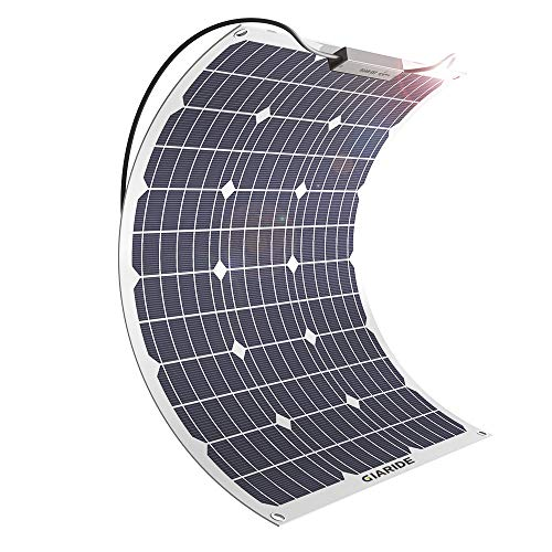 GIARIDE 50W 18V 12V Solar Panel Monocrystalline Cell Flexible Bendable Lightweight Waterproof Off-Grid Solar Power System Charger for RV, Camping, Boat, Caravans, Motorhome and 12V Battery Charging ()