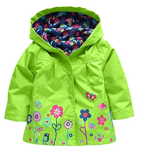 - New Fashion Toddler Baby Girls Flowers Wind Rain Hooded Jacket Coat Green,  5 6Years 130, Green