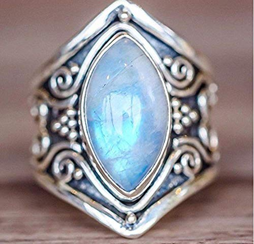Weishu 925 Silver Natural Moonstone Women Jewelry Elegant Gemstone Wedding Ring 6-10 (8) (Size10)