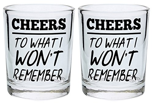 Funny Shot Glasses for College Cheers to What I Won't Remember Drinking Games Shot Glass Gift Shot Glasses 2-Pack Round Shot Glass Set Black