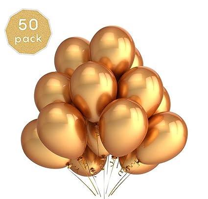 KATELUO Globos Metalizados,50-Pack Globos de cumpleaños Globos Metalicos De Helio Globos De Látex para La Fiesta De Cumpleaños (50 Piezas, Dorado)