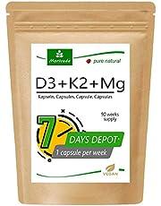MoriVeda® 100% vegetabiliskt vitamin D3 + K2 + Mg kapslar I D3 (7000 I.E) Depot + K2 MK7 All-Trans (200 µg) + Magnesium som aktivator I 90 veckors leverans I Vegan, Tillverkad i Tyskland I 90 kapslar