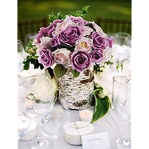 MARJON FlowersArtificial Flowers Rose Bouquet, Fake Flowers Silk Plastic Artificial Floral Roses 9 Heads Bridal Wedding Bouquet for Home Garden Party Wedding Decoration (Purple-White) 2