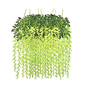 See Greeen Artificial Garlands and Flowers for Decoration of Wedding, Anniversary, Baby Shower, Wall Backdrop and Party (Fake Wisteria Vine and Green Vines) 105