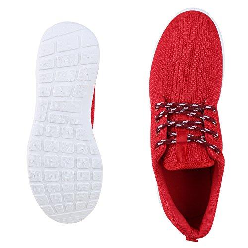 napoli-fashion Flache Unisex Damen Herren Laufschuhe Profilsohle Sportschuhe Schnüren Sneakers Freizeitschuhe VanHill Rot Bianco