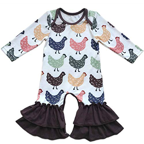 Baby Girls Icing Ruffle Jumpsuit Leggings Cotton Long Sleeve Floral Ruffles Christmas Romper for Kids Pajamas Birthday Outfit White+Brown+Chicken 6-12 Months -
