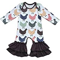 Baby Girls Icing Ruffle Jumpsuit Pants Cotton Long Sleeve Floral Ruffles Christmas Romper for Kids Pajamas Birthday Outfit