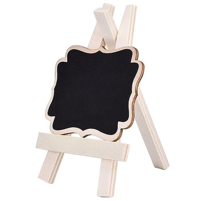 mesas de cocina Mini pizarra de madera Gespout Navidad pizarra de mensaje para fiestas multicolores bodas decorativa 7x9x1.2cm rectangular 10/unidades con caballete Negro