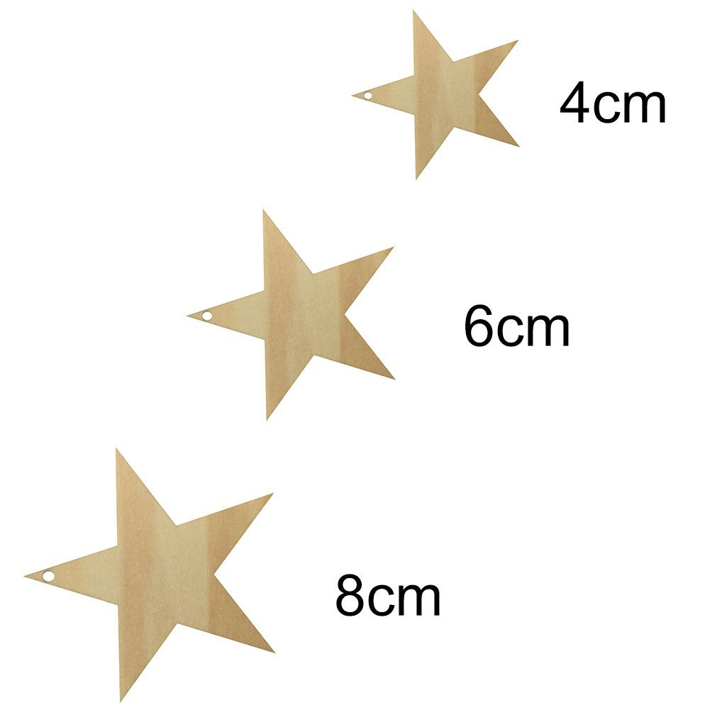 Size C:8 x 8cm AIHOMETM 25 Pcs DIY Five-Pointed Star Shape Wooden Plaques Plain Wood Craft Tags with Hole for Toys Pets Art Decoration Blank