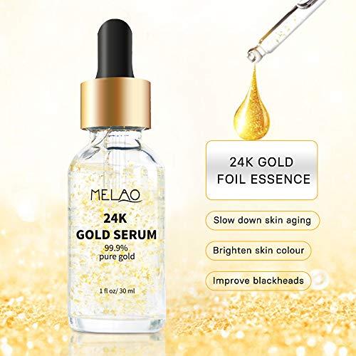51tkP%2B H3aL - 24k Pure Gold Foil Essence Serum Anti-Wrinkle Anti-Aging Serums For Reducing Fine Lines Brightening Skin Tone Anti-Oxidant Nourishing Whitening Firming
