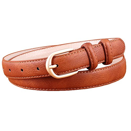 Aquarius Leather Belt (Aquarius CiCi PU Leather Dress Belt for Women with Gold Buckle Multiple Colors)
