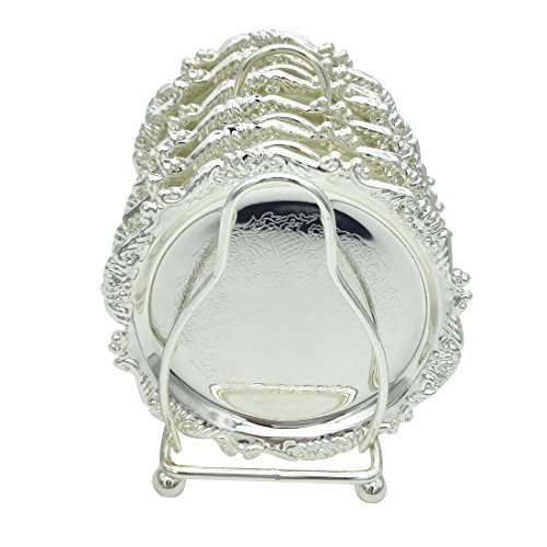 ece Coaster Creative Drink Coasters With Decorative Rack Non-Slip Metal Cup Mats Tabletop Display With Holder for Bar,Home, Kitchen,Coffee Table Centerpieces Decoration (Silver) (Silver Metal Bar Table)