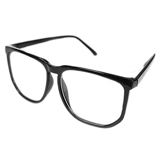 4328d406d0 Shuohu Unisex Oversized Retro Tortoise Shell Nerd Geek Clear Lens Plain  Glasses at Amazon Women s Clothing store