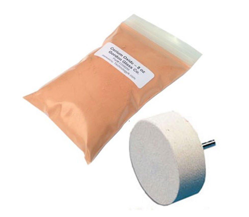 Cerium Oxide High Grade Polishing Powder - 8 Oz and 4'' Felt Polishing Wheel Kit