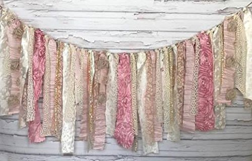 Girl Sparkle Rose Rag Tie Garland: ~ Photo Shoot ~ Wedding ~ Birthday ~ Nursery ~ Bridal Shower ~ Highchair Banner ~ Gender Reveal Parties ~ Decorations ~ Wall Decor! (3 FEET WIDE) (Bridal Shower Quilt)