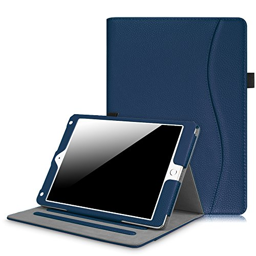 Fintie iPad 9.7 Inch 2017 / iPad Air 2 / iPad Air Case - [Corner Protection] Multi-Angle Viewing Folio Stand Cover w/ Pocket, Auto Wake / Sleep for Apple iPad 2017 Model, iPad Air 1 2, Navy Icon Camera Case