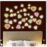 Dalin Colorful Heart Shaped Fluorescent Stickers Glow in the Dark Removable Decal Luminous Heart Stickers for Kids, Small, Sheet Size 21cm*30cm