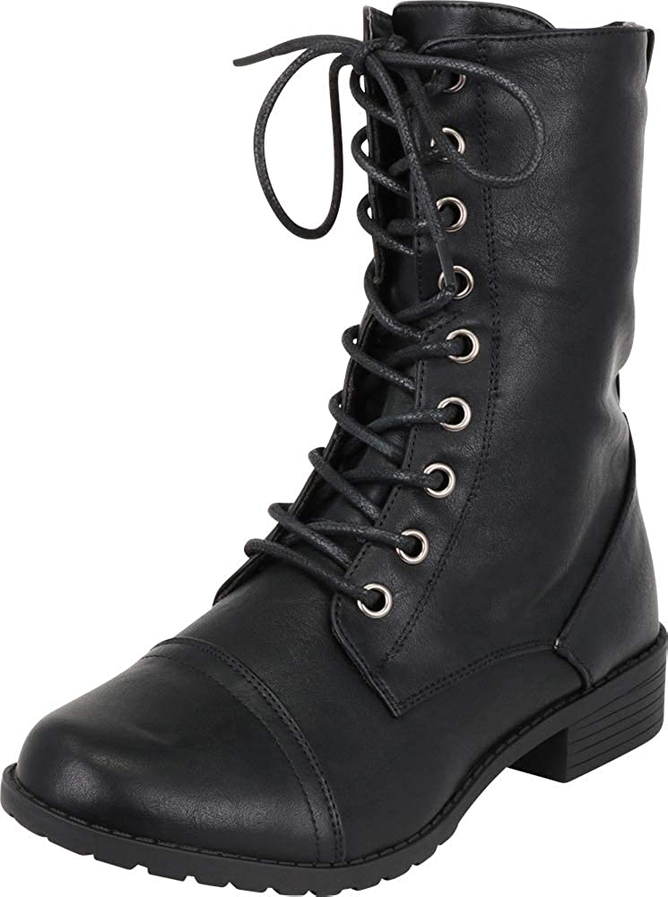 Black Pu Cambridge Select Women's Classic 90s Lace-Up Chunky Lug Sole Combat Boot