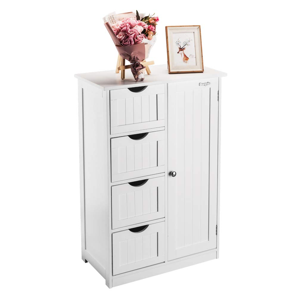 Bonnlo Bathroom Storage Free Standing Floor Cabinet with Single Door and Adjustable Shelf Bedside Table White