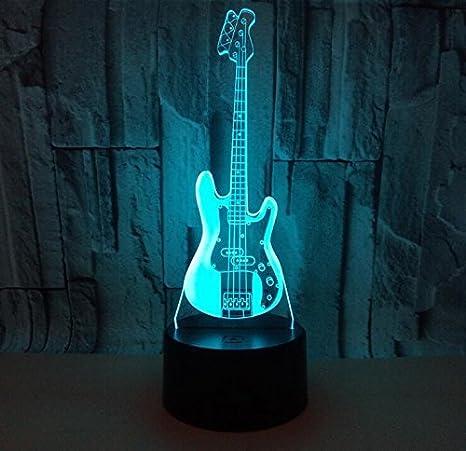 Luz Nocturna 3D guitarra eléctrica colorido usb ilusión óptica decoración cumpleaños regalo de Navidad protección del medio ambiente: Amazon.es: Iluminación