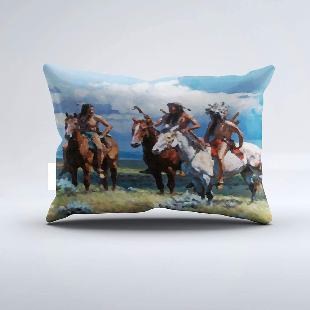 Zippered Pillow Covers Pillowcases One Side 12x20 Inch Native American Indian Tribe Horses Watercolor Pillow Pillow Cases Cushion Cover for Home Sofa Bedding