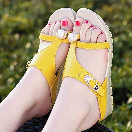 UK6 de Tamaño de playa Color de fondo suave CN39 moda Blanco colores LIXIONG de Zapatillas fondo 5 de Zapatos EU39 Moda antideslizante verano Amarillo arena Zapato 245 plano mujer w417XgAPq