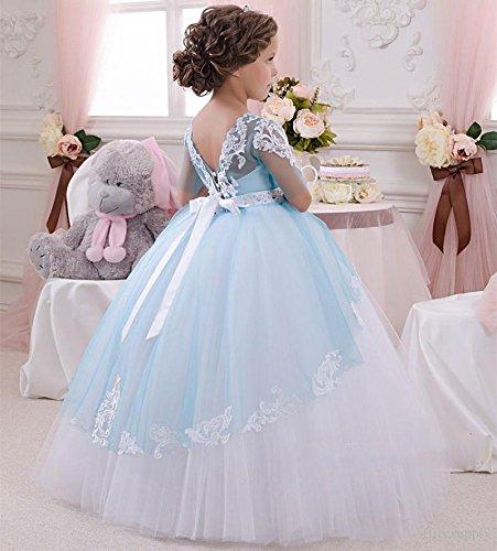 427429f54fd65 KekeHouse® Dentelle Perlée Robe Longue de Cérémonie Fille Enfant Mariage  Sans manches Arc  Amazon.fr  Vêtements et accessoires