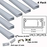 6-Pack 3.3ft/1Meter 9x18mm U Shape Aluminum Channels for Maximum 16mm Wide LED Strips with Oyster Diffuser, End Caps, Mounting Clips-LL-CA01-M [6-Pack]