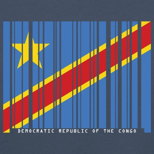 Democratic Republic of the Congo / Demokratische Republik Kongo Barcode Flagge - Herren T-Shirt - Navy - XS