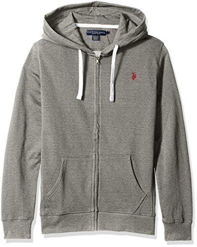U.S. Polo Assn. Men's Slim Fit Solid French Terry Hooded Jacket, Campus Heather Grey, Large (Polo Hooded Sweatshirt compare prices)
